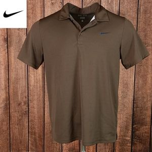 Rare Blue floss on Brown Nike Dri-Fit Solid Polo